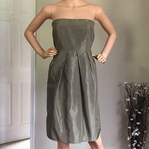 J.Crew 100% Silk Olive Green Strapless Dress